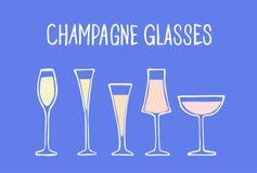Champagne glasses set vector illustration royalty free stock photo