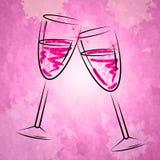Champagne Glasses Shows Sparkling Alcohol et verre à vin Photos stock