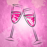 Champagne Glasses Shows Sparkling Alcohol And Wineglass. Champagne Glasses Representing Sparkling Wine And Joy Stock Photos