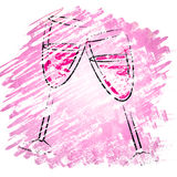Champagne Glasses Shows Sparkling Alcohol And Wineglasses Royalty Free Stock Photography