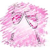 Champagne Glasses Shows Sparkling Alcohol y copas stock de ilustración