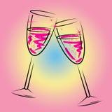 Champagne Glasses Shows Sparkling Wine y bebida stock de ilustración