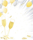 Champagne Glasses on Silver Burst Stock Images