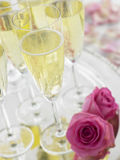 Champagne Glasses On A Silver Platter Royalty Free Stock Photos