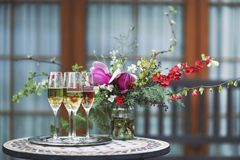 Champagne glasses on silver tray Stock Images