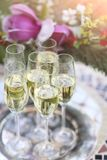 Champagne glasses on silver tray Royalty Free Stock Photography