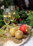Champagne glasses on snow Royalty Free Stock Images