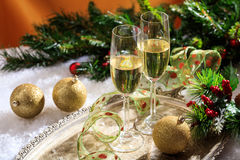 Champagne glasses on snow Royalty Free Stock Photo