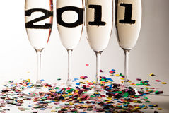 Champagne glasses with sparkling wine in 2011 V3. Champagne glasses with sparkling wine and 2011 inside Stock Images