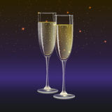 Champagne glasses and streamer with on dark background. Glasses of champagne and streamer, 3D illustration. Champagne with bubbles in a wineglass with place for Royalty Free Stock Image