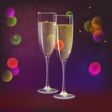 Champagne glasses and streamer with on dark background. Glasses of champagne and streamer, 3D illustration. Champagne with bubbles in a wineglass with place for Stock Image