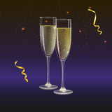 Champagne glasses and streamer with rays of light on background. Glasses of champagne and streamer with rays of light on background. Champagne with bubbles in a Royalty Free Stock Photos