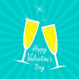 Champagne glasses. Sunburst . Happy Valentines Day Royalty Free Stock Photo