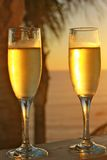 Champagne glasses at sunset- vertical format Royalty Free Stock Photography