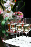 Champagne glasses on the table Stock Photography