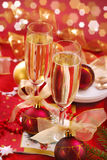Champagne glasses on the table Stock Images