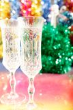 Champagne glasses on the table for Christmas Royalty Free Stock Photo