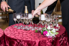 Champagne glasses on the table Stock Image