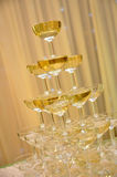 Champagne glasses tower Royalty Free Stock Photos