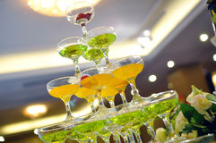 Champagne glasses tower Royalty Free Stock Photo
