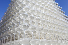 Champagne glasses tower. Against clear blue sky Royalty Free Stock Photography
