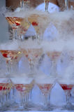 Champagne glasses tower Royalty Free Stock Photography
