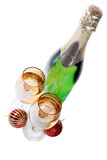 Champagne glasses and toys isolated Stock Photo