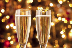 Champagne Glasses. Two Champagne Glasses at Christmas time Stock Photo