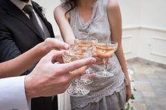 Champagne glasses. Wedding guests clinking champagne glasses with the newlywed's. Stock Image
