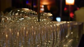 Champagne glasses. Wedding party. Welcoming the guest. stock footage