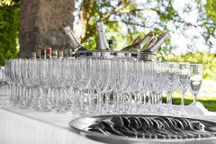 Champagne and glasses Stock Photography