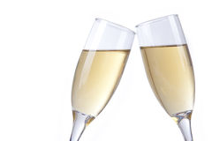 Champagne glasses on white Stock Photo