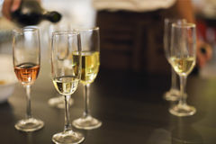 Champagne glasses. Wine tasting in the restaurant Royalty Free Stock Photography