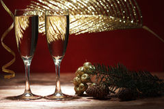 Champagne glasses on wooden table Royalty Free Stock Photography