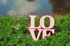 The champagne glasses and the word love. Glasses with champagne and homemade wooden plaque with the word love in the grass are beautiful Stock Photos