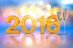 Champagne-glazen - 2016 Royalty-vrije Stock Afbeeldingen