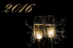 Champagne-glazen 2016 Royalty-vrije Stock Afbeeldingen