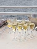 Champagne in glazen Stock Foto's