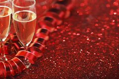Champagne on glitters Stock Photo