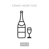 Champagne and goblet. Linear  icon. Stock Image