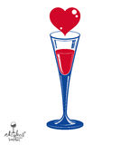 Champagne goblet with red loving heart. Alcohol beverage Royalty Free Stock Photo