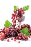 Champagne Grapes en verre de vin d'isolement images libres de droits