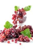 Champagne Grapes i isolerat vinexponeringsglas Royaltyfria Bilder