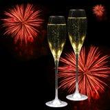 Champagne, harten en vuurwerk Royalty-vrije Stock Afbeelding
