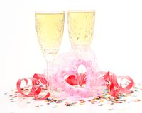 Champagne and heart Stock Photo