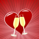 Champagne and heart Stock Photography