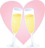 Champagne heart Stock Image