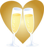 Champagne heart Stock Photo
