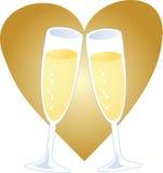 Champagne heart Stock Photo