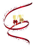 Champagne and hearts Stock Images